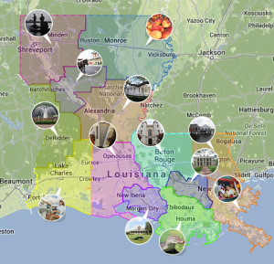 Map courtesy of Louisiana Office of Tourism.