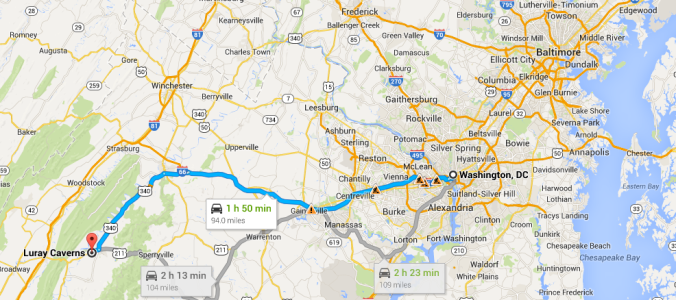 Route from Washington, D.C., to Luray, Va.