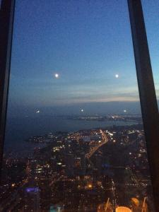 Breathtaking view at 360 Restaurant at the top of the CN Tower in Toronto.